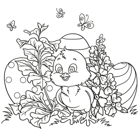 Outlined cute Easter chick among the flowers and Easter eggs Vector