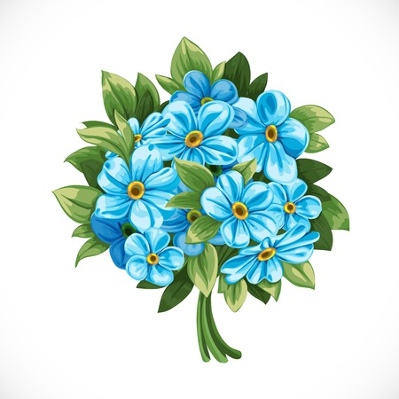 Bouquet of blue forget-me-not Vector