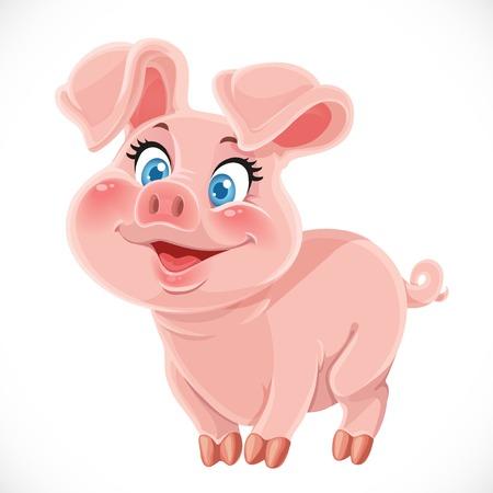 Leuke cartoon gelukkig baby varken op een witte achtergrond Stock Illustratie