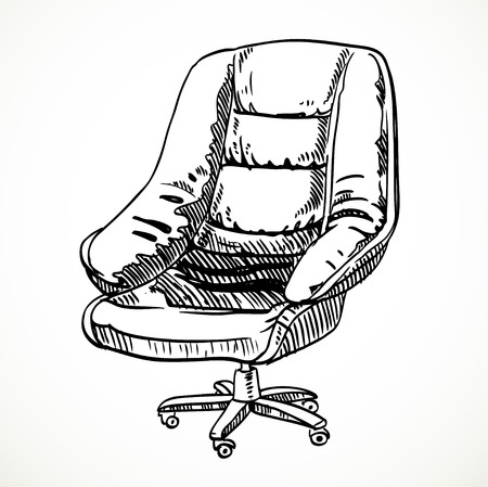 leather chair: Boceto silla de oficina de cuero Grande vector Vectores