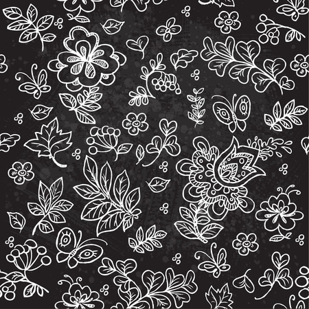 Seamless pattern of doodles flowers and twigs and leaves on a black background grungy Vector