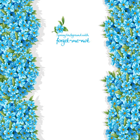 Spring forget-me-not borders on white background Ilustração