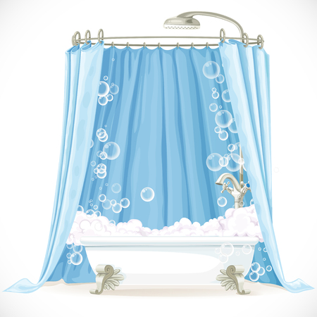 Vintage claw-foot bathtub and a curtain on the hoop Vector