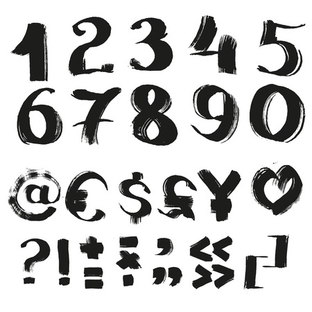 wet paint: Black handwritten by a textured  brush symbols and numbers to the handwritten alphabet