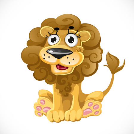 Cute cartoon character lion isolated on white background Vector