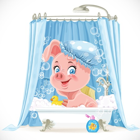 Cute pink little piggy taking a bath with foam Vector