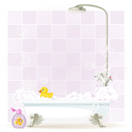 Foam filled bathtub on legs Vector