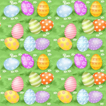 Multi-colored Easter eggs hidden in green grass big seamless background Vector