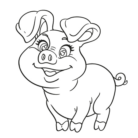 swine: Outlined cute cartoon happy baby pig