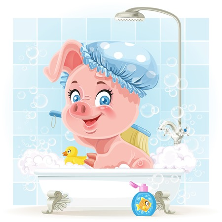bubble bath: Pretty pink little piggy taking a bath with foam Illustration