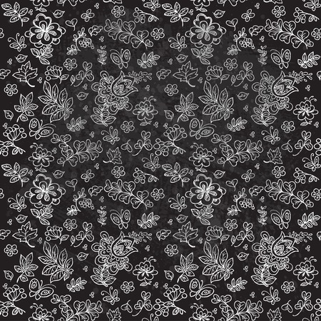 Seamless pattern of doodles flowers and twigs and leaves painted chalk black grungy background Vector
