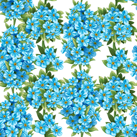 Seamless pattern of forget-me-not Vector