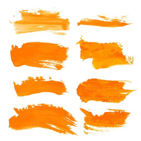 Set orange gouashe realistic thick paint strokes Vector