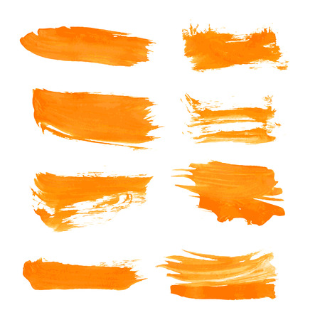 paint strokes: Set orange gouashe realistic vector thick paint strokes