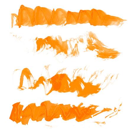 manually: Vector wavy texture orange paint strokes drawn manually 1