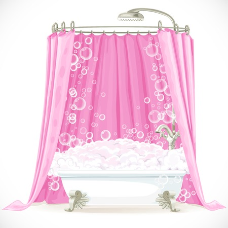 Vintage claw-foot bathtub and a pink curtain on the hoop Vector