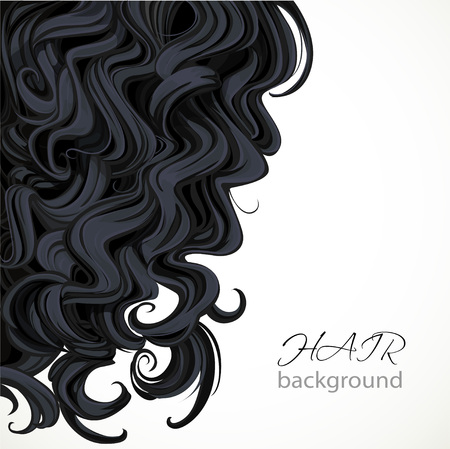 Background with curly black hair Ilustrace
