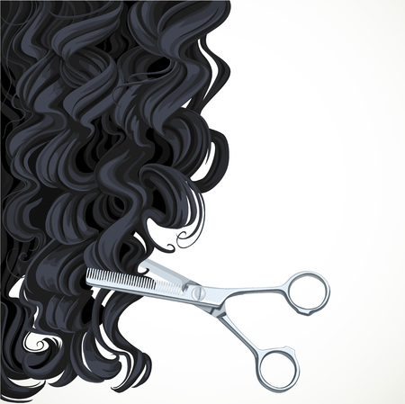 hairstyling: Background with scissors equals curly back hair