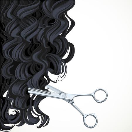 equals: Hintergrund mit einer Schere gleich lockiges Haar zur�ck