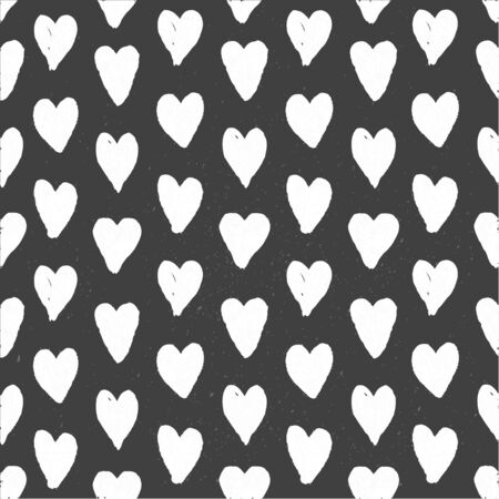 Dark seamless pattern of hand drawn white hearts Vector