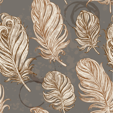 coffee stain: Dark vintage seamless romantic background from bird feathers on grunge stains from cups