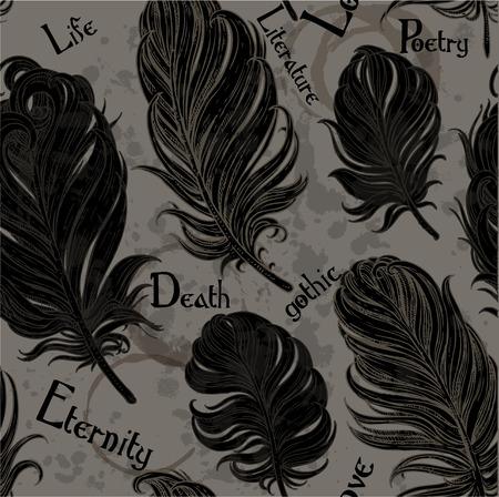 黒い鳥の羽からのゴシック様式のシームレスなロマンチックな背景  イラスト・ベクター素材