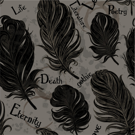 Gothic seamless romantic background from black bird feathers