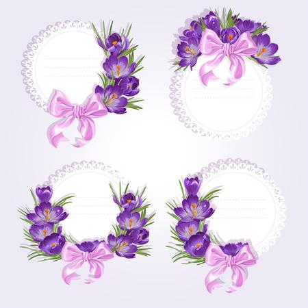 saffron: Labels with purple crocus flowers