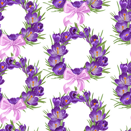 Seamless pattern from wreath of purple spring crocus with pink ribbon bow Vector