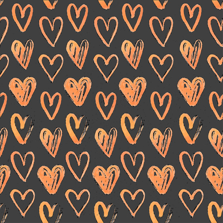 Seamless pattern of hand-painted  hearts on a grungy background Vector