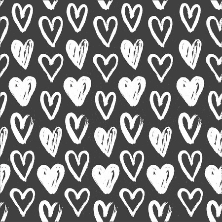 Seamless pattern of hand-painted white hearts on a grungy background Vector