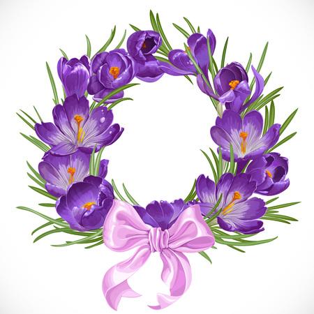 Wreath of purple spring crocus with beautiful pink ribbon bow Иллюстрация