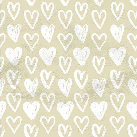 peinture blanche: Beige pattern vintage dessin�s � la main des blancs coeurs de peinture