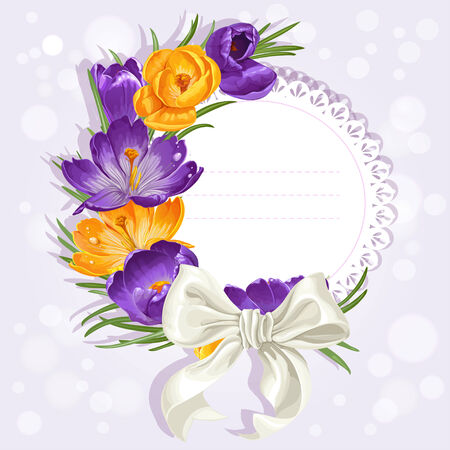 scent: Openwork card with yellow and purple crocuses and white satin ribbon bow Illustration