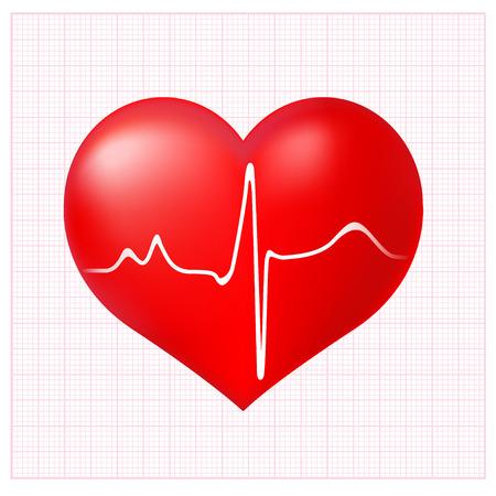 cardioid: Cardiograma coraz�n sano en el fondo a cuadros con el ECG Vectores