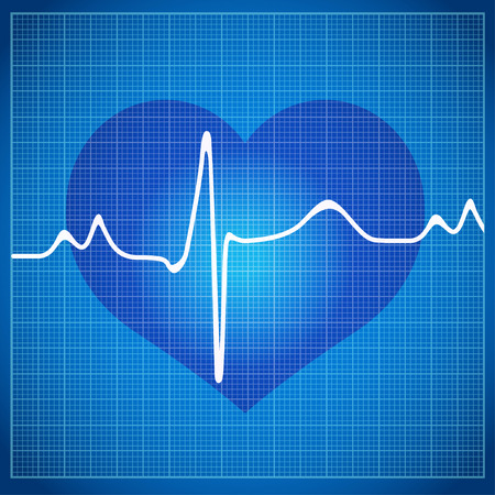 cardioid: Healthy Heart cardiogram on background in the box to the ECG