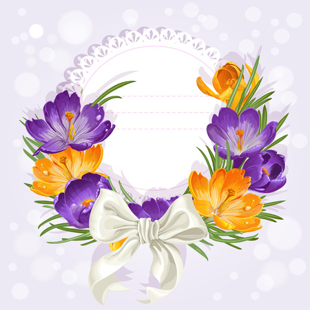 saffron: Openwork card with wreath of beautiful yellow and purple crocuses. Just print and sign