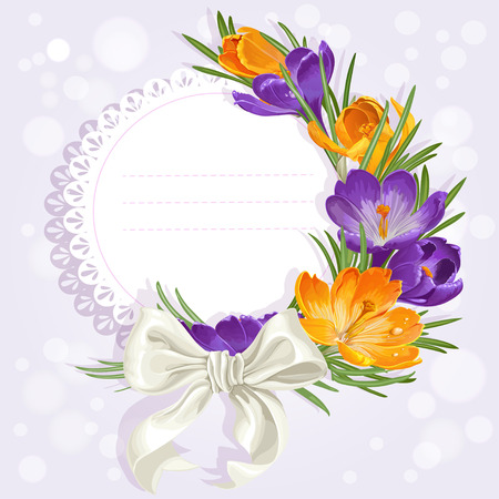 saffron: Openwork card with yellow and purple crocuses and white bow. Just print and sign
