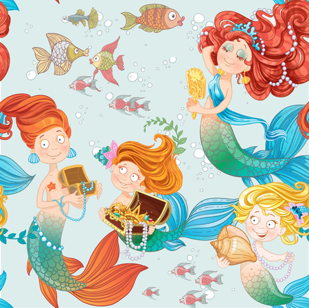 Seamless pattern with cute mermaids playing with jewelry Vector