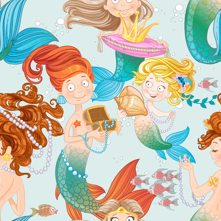 Seamless pattern with mermaids playing with jewelry Vector