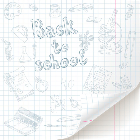 preparatory: White  checkered  paper sheet  with back to school doodles and curved bottom