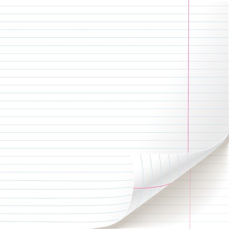 White lined paper sheet school notebook texture of curved bottom Illustration