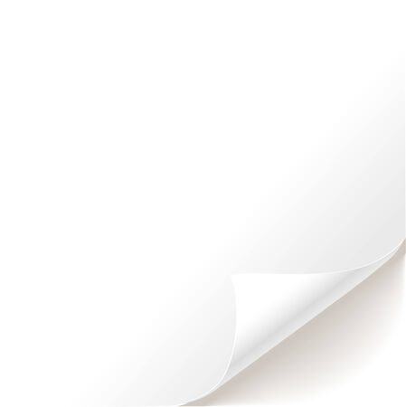 turn up: Blank sheet of paper curved bottom