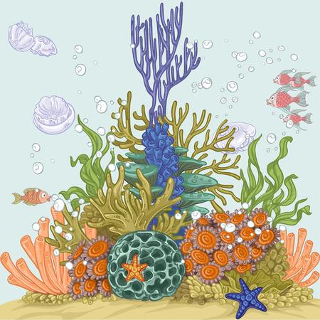 海底水族館の装飾または白い背景に分離された独立した要素としてのスポンジやイソギンチャクの一部が付いている石のイラスト素材 ベクタ Image