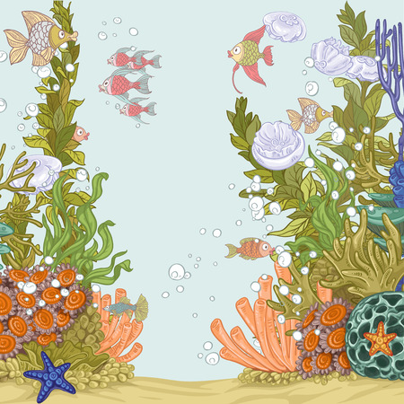 Coral reef illustration with sea anemones and fishes