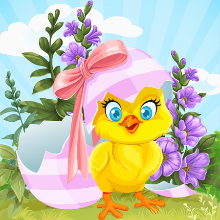 Cute baby chick hatched from an Easter egg on a green lawn with flowers