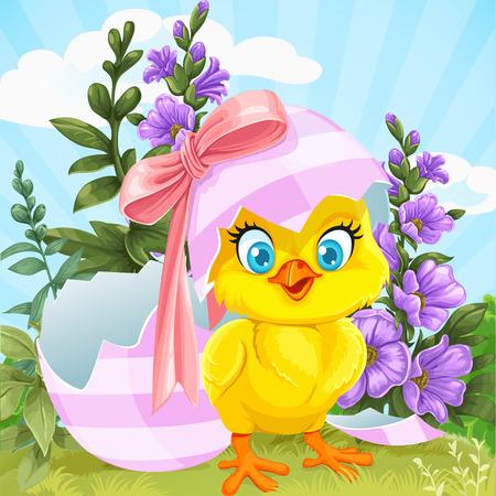 Polluelo lindo del bebé nacido de un huevo de Pascua en un césped verde con flores Ilustración de vector