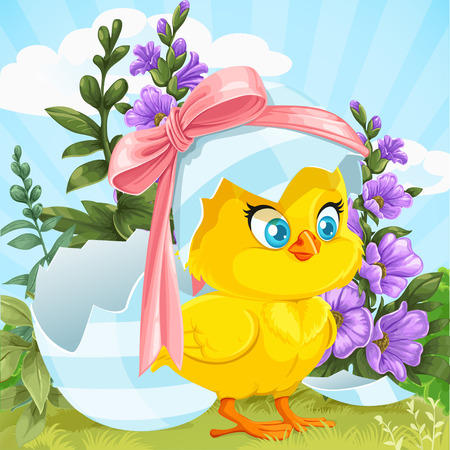 religion  herb: Cute baby chick just hatched from an Easter egg on a green lawn with flowers