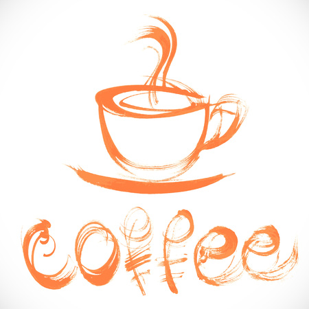 broad: Drawing thick orange paint in broad strokes cup of coffee and a handwritten signature Illustration