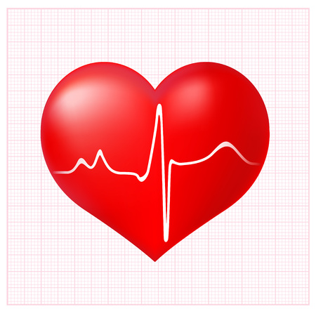 ekg: Healthy Heart cardiogram on background checkered to the ECG
